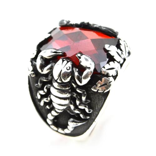 خاتم فضة رجالي 925 عقرب (أحمر)