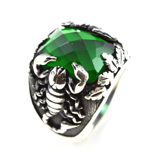 خاتم فضة رجالي 925 عقرب (أخضر)