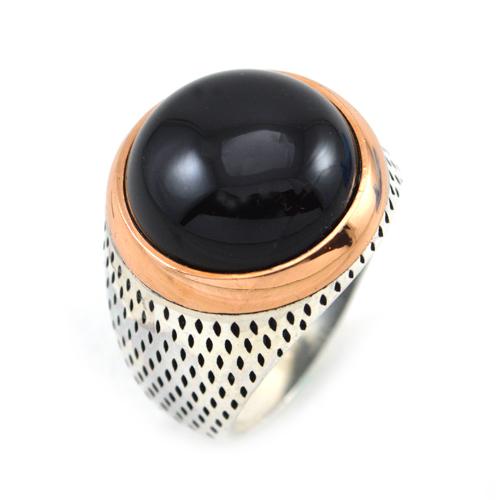 خاتم فضة رجالي 925 دائري أسود