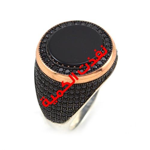خاتم فضة رجالي 925 كرستال فاخر