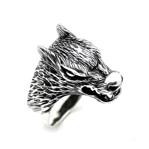 خاتم فضة رجالي 925 وجه الذئب
