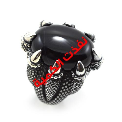 خاتم فضة رجالي 925 مخلب نسر (أسود)