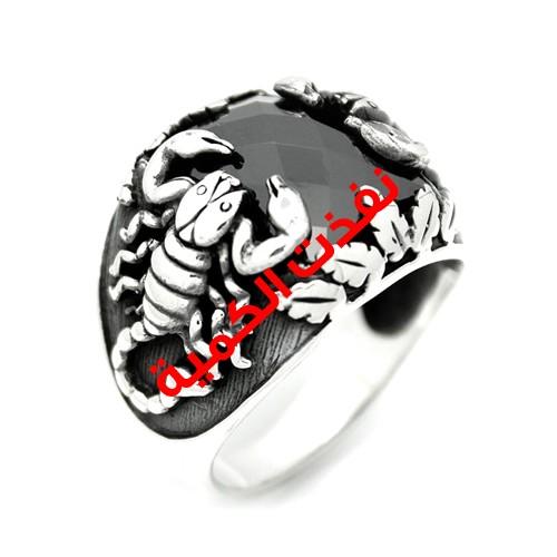 خاتم فضة رجالي 925 عقرب (أسود)