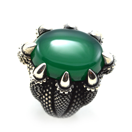 خاتم فضة رجالي 925 مخلب نسر (أخضر)