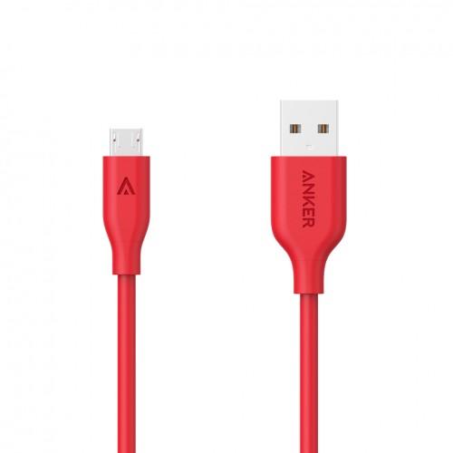 كيبل مايكرو يو اس بي للهواتف الذكية من انكر - أحمر